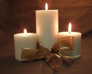 Candles with Gold Ribbon